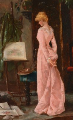 Elegant Lady in an Artist's Studio Interior