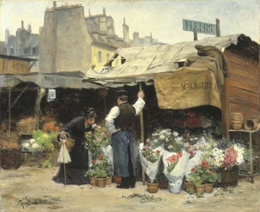 At the Flower Market | Victor Gabriel Gilbert | Oil Painting