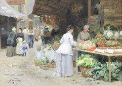 The Vegetable Market(also known as La marché aux légumes) | Victor Gabriel Gilbert | Oil Painting