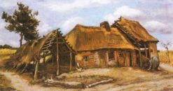Farmhouse with a stooping Peasant-woman in a Blue Dress   Vincent van Gogh   Oil Painting