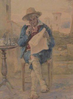 Elder Man Seated Reading the Unita Cattolica on his Veranda | Vincente Capobianchi | Oil Painting
