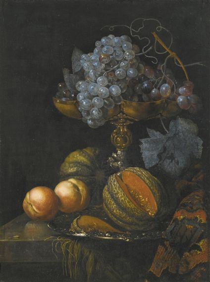Still Life of Grapes and a Cut Melon | Willem Kalf | Oil Painting
