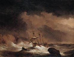 An Indiaman in a Gale off a Rocky Coast | Willem van de Velde the Younger | Oil Painting