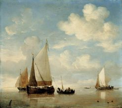 Calm: Dutch Smalschips and a Rowing Boat | Willem van de Velde the Younger | Oil Painting