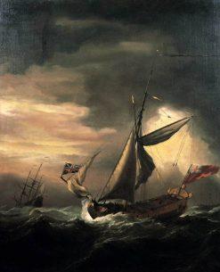 Shipping in Heavy Seas | Willem van de Velde the Younger | Oil Painting