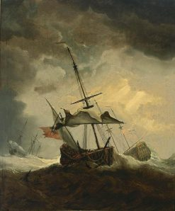 Small Ship Dismasted in a Gale | Willem van de Velde the Younger | Oil Painting