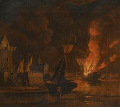 A Ship Ablaze at Night in a Town Harbour | William Marlow | Oil Painting