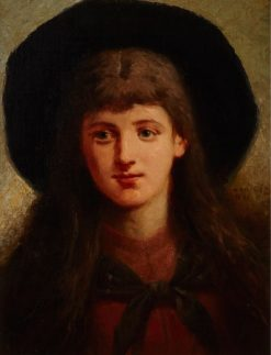 Young Girl with a Wide Brimmed Hat | William Raphael | Oil Painting