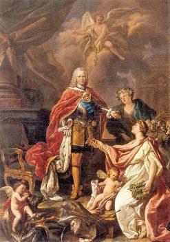 Portrait of Ferdinand VI King of Spain as Protector of Arts and Science | Antonio Gonzalez Ruiz | Oil Painting
