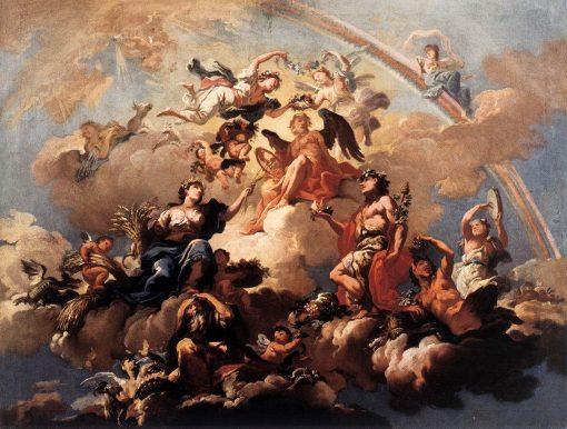 The Four Seasons Paying Homage to Chronos   Bartholomaus Altomonte   Oil Painting