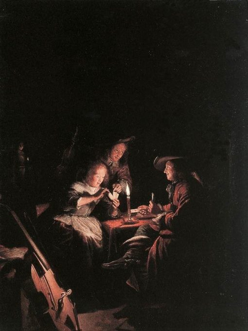 Card Players at Candelight | Gerrit Dou | Oil Painting
