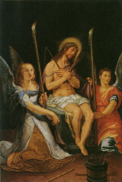 Christ on the Cold Stone with Two Angels | Hendrick Goltzius | Oil Painting