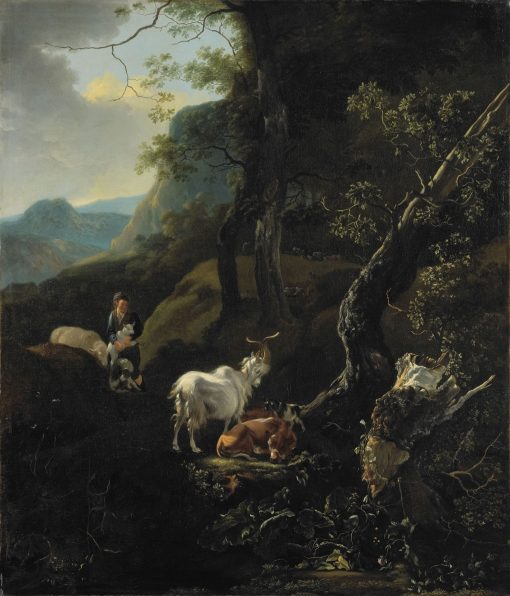 A Shepherdess with Animals in a Mountainous Landscape | Adam Pynacker | Oil Painting
