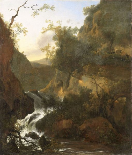 A Waterfall   Adam Pynacker   Oil Painting