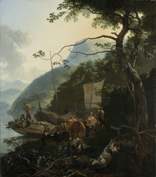 Boatmen Moored on the Shore of an Italian Lake | Adam Pynacker | Oil Painting