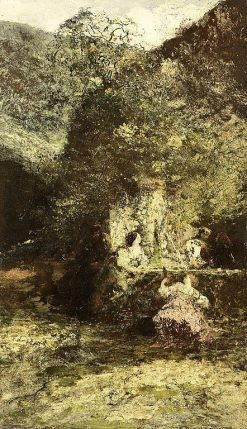 Figures at a Fountain | Adolphe Joseph Thomas Monticelli | Oil Painting