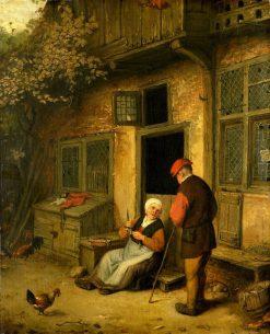 Elderly Couple in Conversation Outside a Cottage | Adriaen van Ostade | Oil Painting