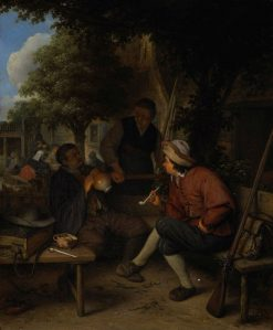 Rustende reizigers (Three Men in Conversation)   Adriaen van Ostade   Oil Painting