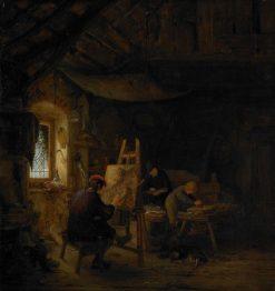 Schildersatelier (Artist's Studio)   Adriaen van Ostade   Oil Painting