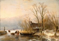 Winter Scene on the Ice with Wood Gatherers | Andreas Schelfhout | Oil Painting
