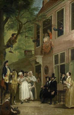 Misled: The Ambassador of the Rascals Exposes himself from the Window of 't Bokki Tavern in the Haar   Cornelis Troost   Oil Painting