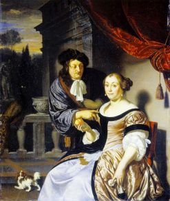Couple and Small Dog | Frans van Mieris the Elder | Oil Painting