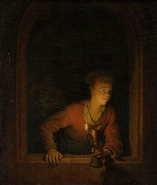 Girl with Burning Oil Lamp | Gerrit Dou | Oil Painting