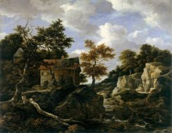 Rocky Landscape with Waterfall | Jacob van Ruisdael | Oil Painting