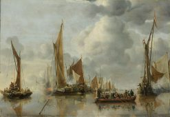 The Home Fleet Saluting the State Barge | Jan van de Cappelle | Oil Painting