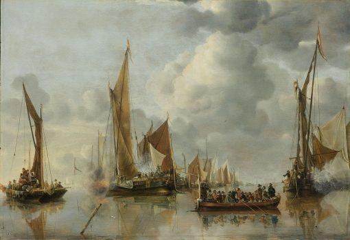 The Home Fleet Saluting the State Barge | Jan van de Cappelle | Oil Painting