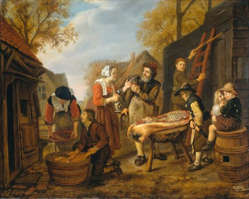 Butchering a Pig | Jan Victors | Oil Painting