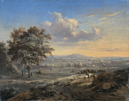 Hilly Landscape with a Rider on a Country Road | Jan Wijnants | Oil Painting