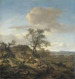 Landscape with a Hunter and Figures | Jan Wijnants | Oil Painting