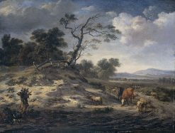 Landscape with Cattle on a Country Road | Jan Wijnants | Oil Painting