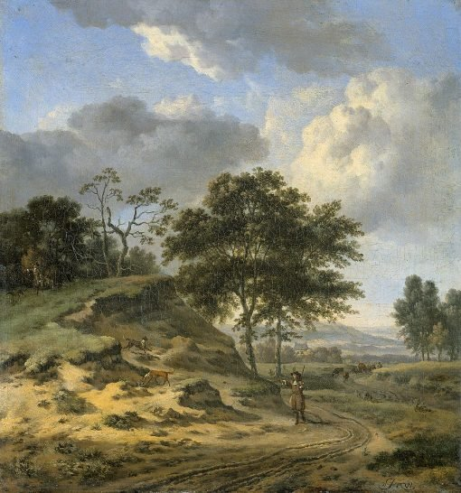 Landscape with Two Hunters | Jan Wijnants | Oil Painting