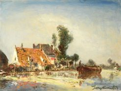Houses on a Waterway near Crooswijk | Johan Barthold Jongkind | Oil Painting