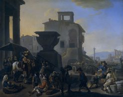 Marketplace in an Italian Town with an Itinerant Tooth-puller | Johannes Lingelbach | Oil Painting
