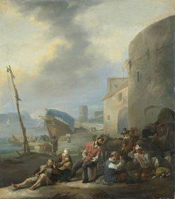 An Italian Harbour Scene | Johannes Lingelbach | Oil Painting