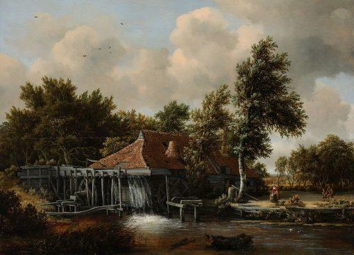 A Watermill   Meindert Hobbema   Oil Painting