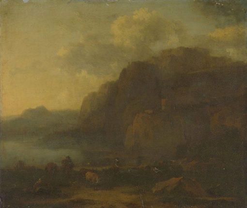 Italian Landscape   Nicolaes Berchem   Oil Painting