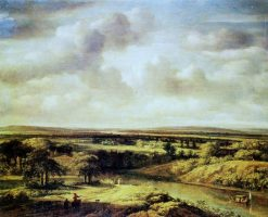 Landscape with a River   Philips Koninck   Oil Painting