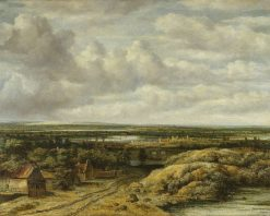 Distant View with Cottages along a Road | Philips Koninck | Oil Painting