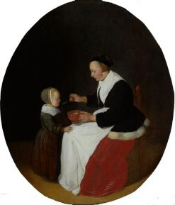 A Mother Feeding Her Child | Quiringh van Brekelenkam | Oil Painting