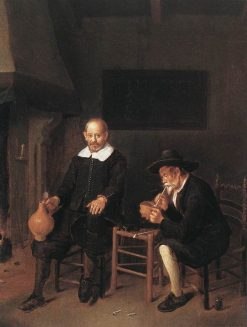 Interior with Two Man by the Fireside | Quiringh van Brekelenkam | Oil Painting