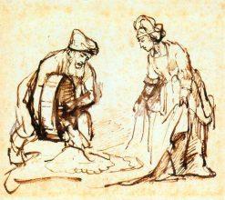 Boaz Casting Barley into Ruth's Veil | Rembrandt van Rijn | Oil Painting