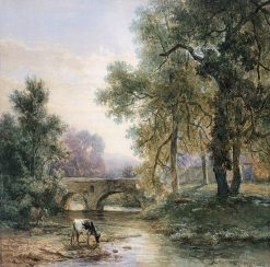Wooded Landscape with Stone Bridge over a River | Willem Roelofs | Oil Painting