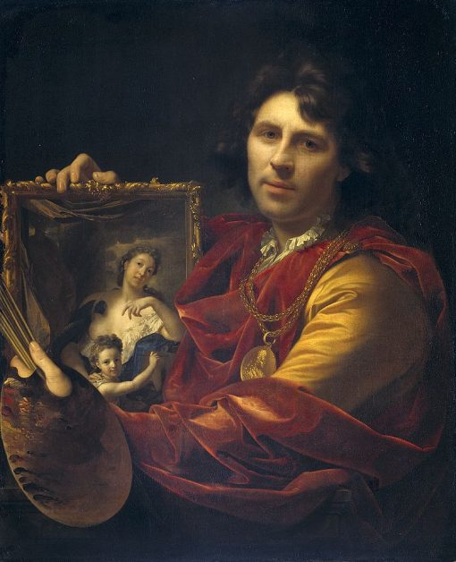Self Portrait with the Portrait of His Wife and Their Daughter | Adriaen van der Werff | Oil Painting