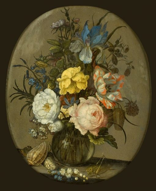 Flowers in a Glass Vase with Shells and Insect | Balthasar van der Ast | Oil Painting