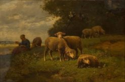 Landscape with Sheep | Charles Emile Jacque | Oil Painting