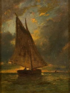 Yacht at Honfleur   Constant Troyon   Oil Painting